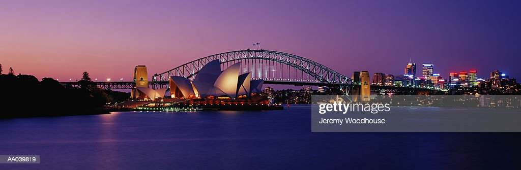 Australia, New South Wales, Sydney harbor, night : Stock Photo