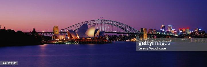 Australia, New South Wales, Sydney harbor, night : Bildbanksbilder
