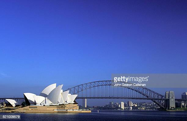 Australia New South Wales Sydney Harbour Harbour Bridge and iconic Opera House