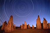 Australia, Pinnacles National Park, rock formations and star trails