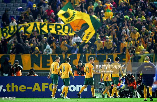 Australia players celebrate after a nilall draw in the 2010 FIFA World Cup Asian qualifying match between Japan and Australia at Nissan Stadium on...