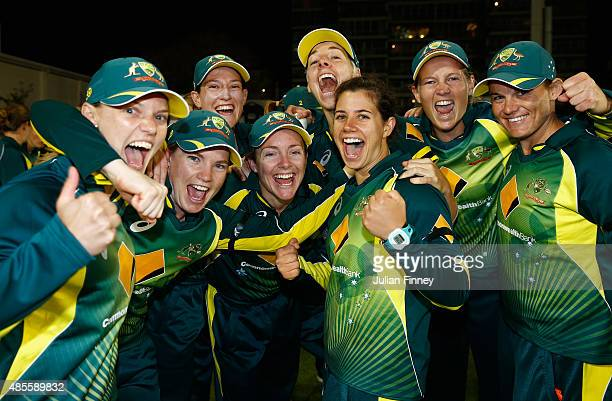 Australia players celebrate their win over England during the 2nd NatWest T20 of the Women's Ashes Series between England and Australia Women at...