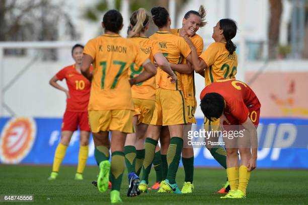 Australia players celebrates after scoring a goal against China during the Women's Algarve Cup Tournament match between China and Australia at...