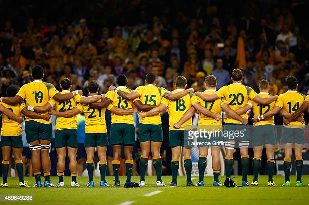 Australia players line up prior to the 2015 Rugby World Cup Pool A match between Australia and Fiji at the Millennium Stadium on September 23 2015 in...