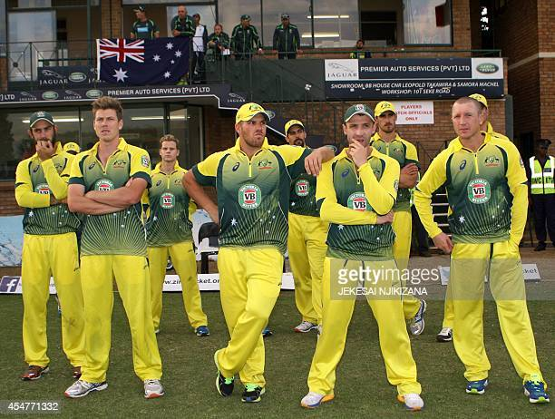 Australia players watch on September 6 2014 postmatch presentations after the oneday international triangular series final between Australia and...