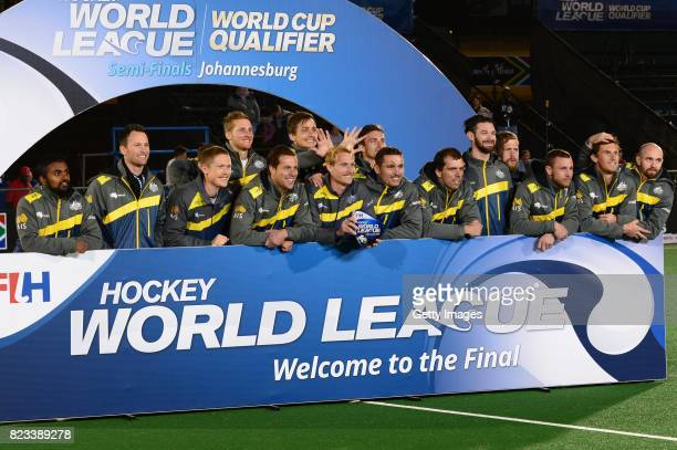 Australia pose during day 9 of the FIH Hockey World League Men's Semi Finals at Wits University on July 23 2017 in Johannesburg South Africa