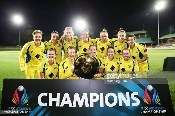 Australia pose with the ICC Womens Championship trophy after the women's One Day International match between the Australian Southern Stars and South...