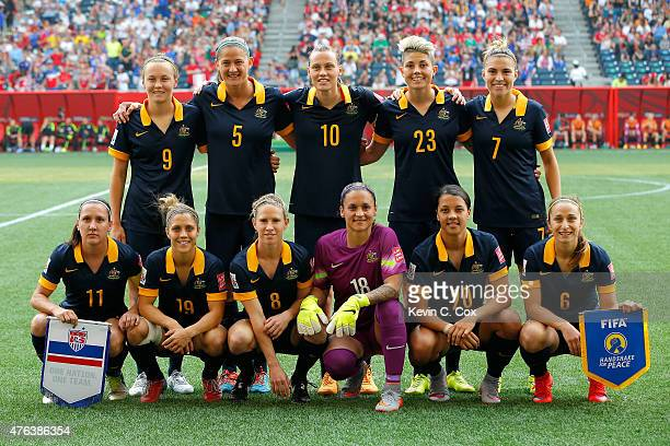 Australia poses for their team picture before the FIFA Women's World Cup 2015 Group D match at Winnipeg Stadium on June 8 2015 in Winnipeg Canada