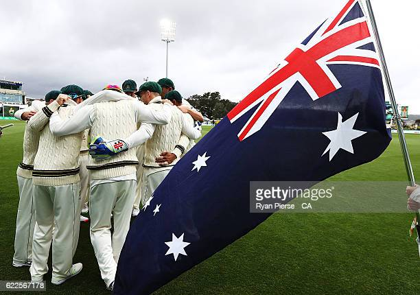 Australia preapre to take to the field during day one of the Second Test match between Australia and South Africa at Blundstone Arena on November 12...