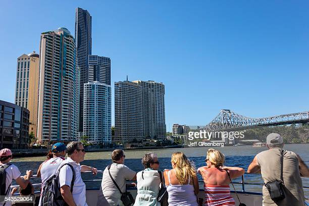 Australia Queensland Brisbane Central Business District Brisbane River City Cat ferry boat public transportation riders passengers Admiralty Towers...