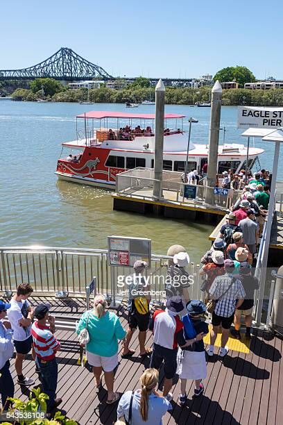Australia Queensland Brisbane Central Business District Eagle Street Pier Brisbane River Story Bridge line queue Queensland Ferries Ferries Trans...