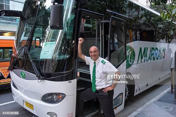 Australia Queensland Brisbane Central Business District Mary Street bus motor coach driver operator man smiling