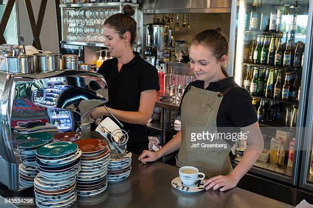Australia Queensland Brisbane North Shore Riverside Cafe inside restaurant counter woman coworkers employees job waitress