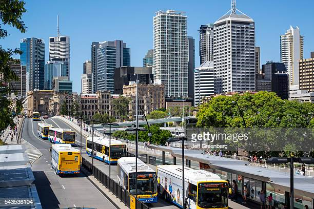 Australia Queensland Brisbane Southbank Central Business District CBD Victoria Bridge Cultural Center bus station city skyline skyscrapers buildings...