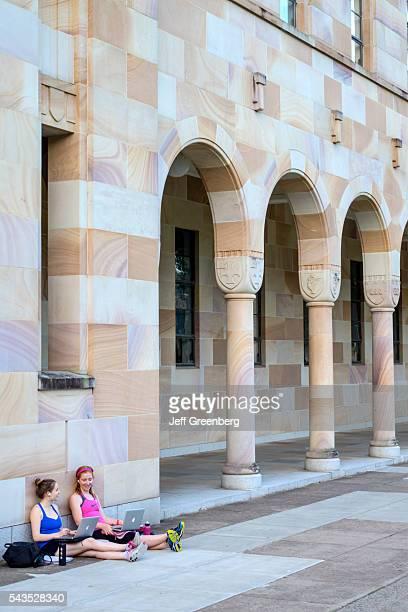 Australia Queensland Brisbane University of Queensland campus school education Forgan Smith Building School of Law student using Apple MacBook...
