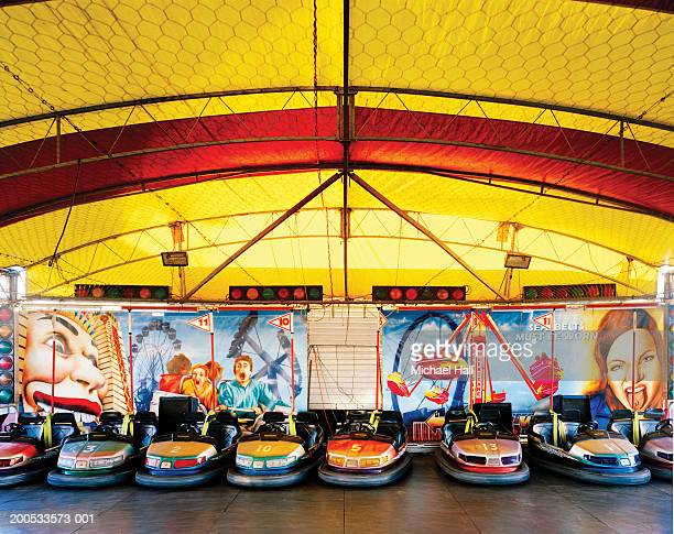 Australia, Queensland, empty dodgem cars at fairground ride