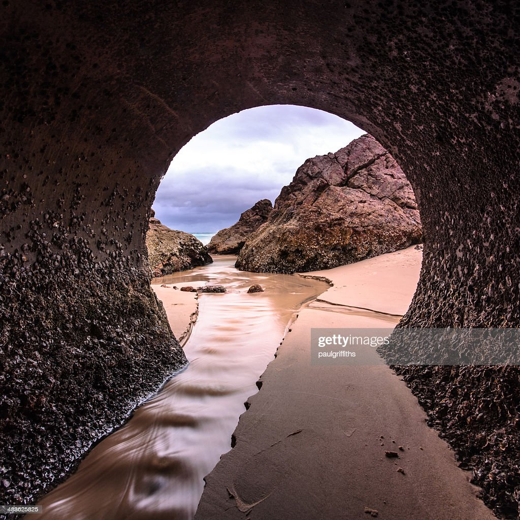 Australia, Queensland, Gold Coast, View of beach from tunnel : Stock Photo
