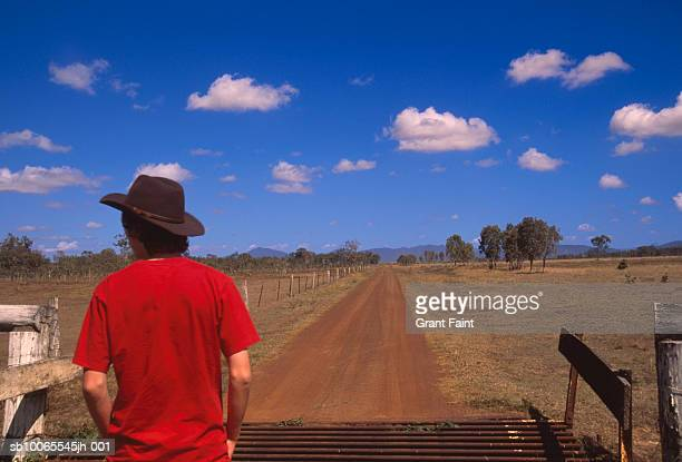Australia, Queensland, man looking at rural landscape, rear view