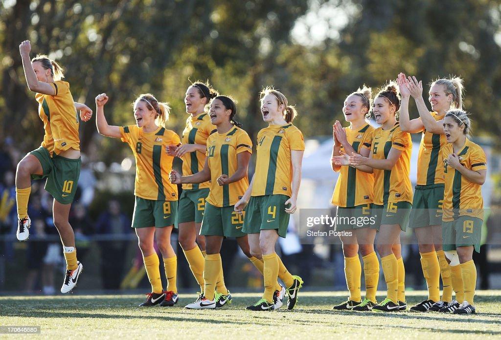 Australia reacts to Servet Uzunlar's penalty goal during the Women's International match between the Australian Matildas and the New Zealand Football...