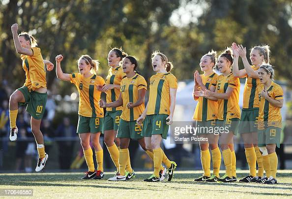 Australia reacts to Servet Uzunlar's penalty goal during the Women's International match between the Australian Matildas and the New Zealand Football...