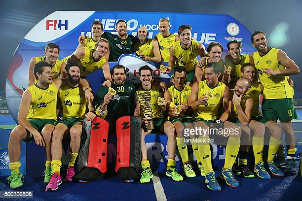Australia receive the trophy after winning the final between Australia and Belgium on day ten of The Hero Hockey League World Final at the Sardar...