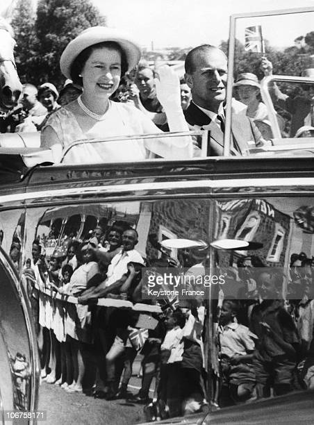 Australia Royal Tour In The 1960'S Hm The Queen Elizabeth Ii And Prince Philip Wave At The Crowd