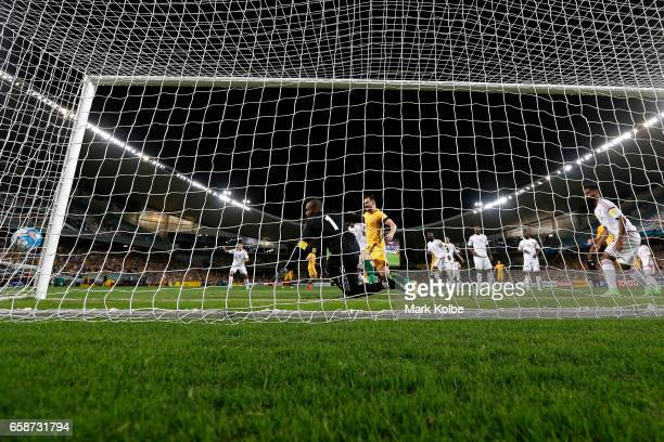 Australia score a goal in the first half during the 2018 FIFA World Cup Qualifier match between the Australian Socceroos and United Arab Emirates at...