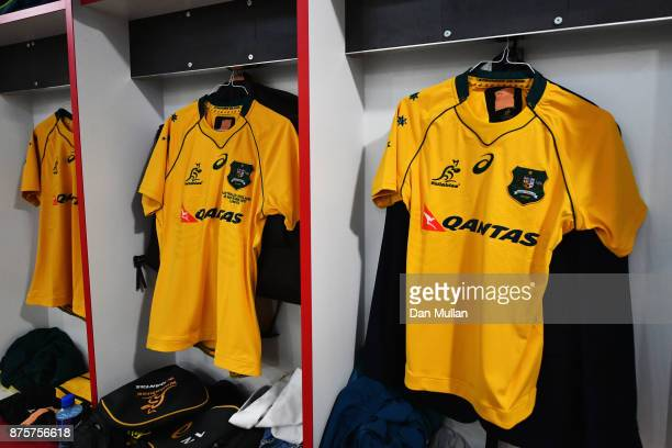 Australia shirts are seen in the dressing room prior to the Old Mutual Wealth Series match between England and Australia at Twickenham Stadium on...