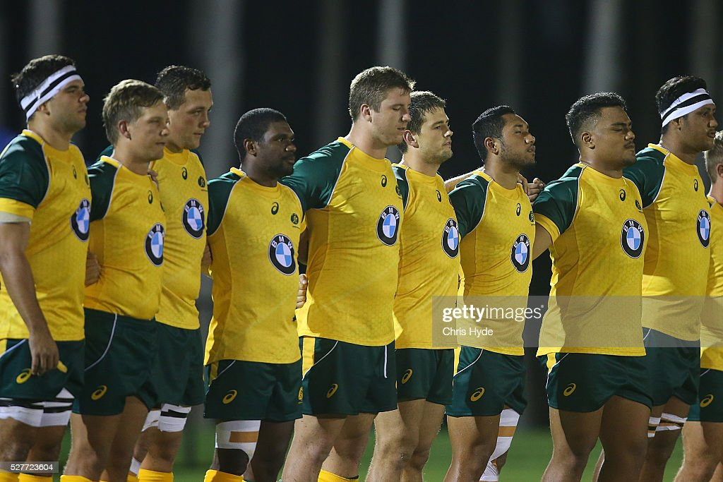 Australia sing the National anthem during the Under 20s Oceania Rugby match between Australia and New Zealand at Bond University on May 3, 2016 in Gold Coast, Australia.