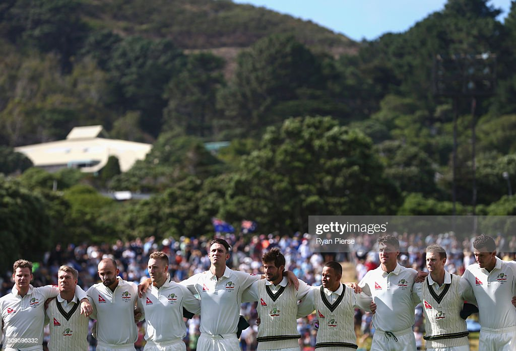 Australia sing their national anthem during day one of the Test match between New Zealand and Australia at Basin Reserve on February 12, 2016 in Wellington, New Zealand.