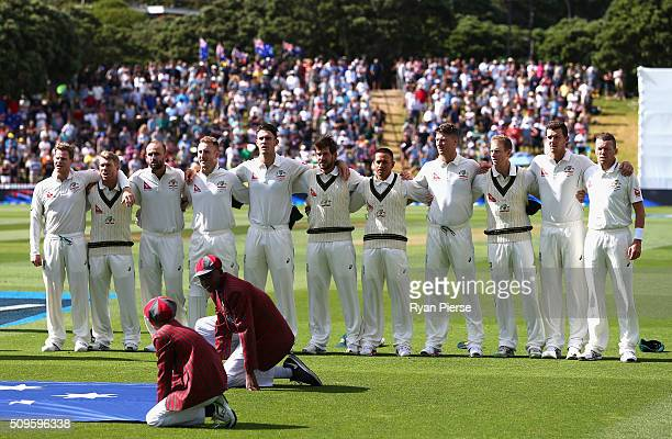 Australia sing their national anthem during day one of the Test match between New Zealand and Australia at Basin Reserve on February 12 2016 in...