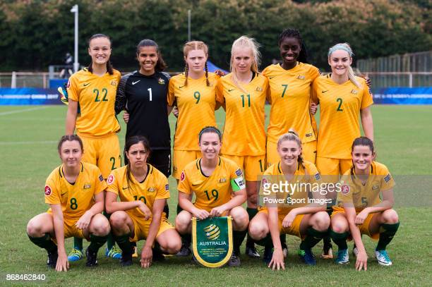 Australia squad pose for team photo Amy Sayer #1 Jada Mathyssen #9 Cortnee Vine #11 Kaitlyn Torpey #7 Princess IbiniIsei #2 Ellie Carpenter #8 Clare...
