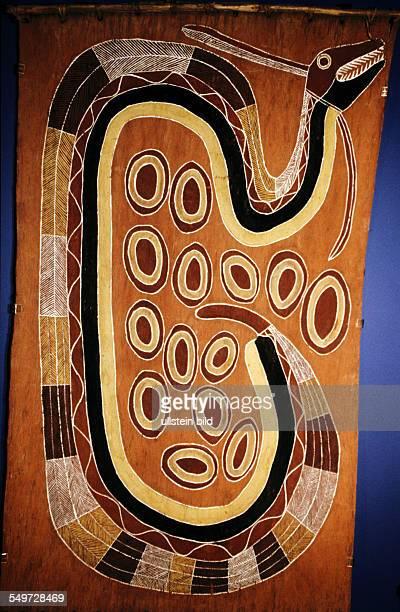AUS Australia Sydney Australian Museum Aboriginal painting Bark Painting snake of the rainbow