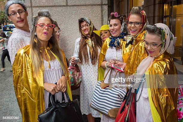 Australia Sydney CBD Central Business District Quiz Day pub bar trivia contest participants granny costumes outfits woman man