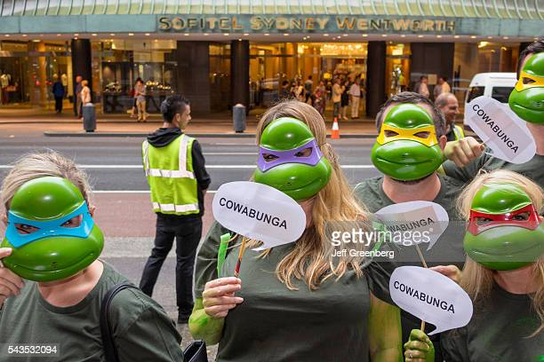 Australia Sydney CBD Central Business District Quiz Day pub bar trivia contest participants Teenage Mutant Ninja Turtle costumes outfits