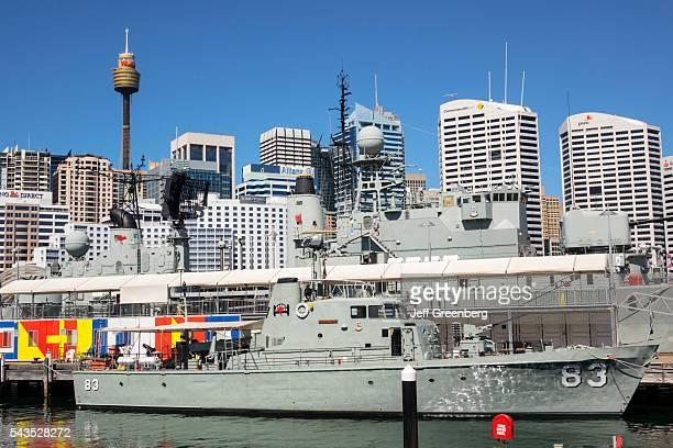 Australia Sydney Central Business District CBD Darling Harbor Cockle Bay Australian National Maritime Museum war ship HMAS Advance P83 Coastal Patrol...