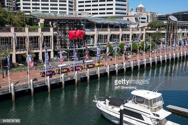 Australia Sydney Central Business District CBD Darling Harbor Cockle Bay Promenade Wharf minitrain shuttle water boat
