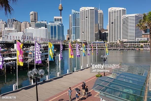 Australia Sydney Central Business District CBD Darling Harbor Cockle Bay Promenade water Sydney Tower skyscrapers city skyline