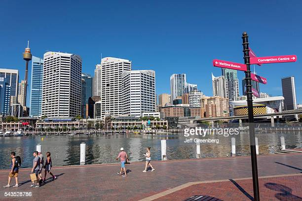 Australia Sydney Central Business District CBD Darling Harbor Cockle Bay Promenade Wharf water skyscrapers city skyline sign directions IMAX theater...