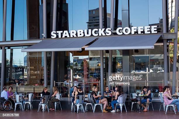 Australia Sydney Central Business District CBD Darling Harbor Cockle Bay Promenade Starbucks Coffee alfresco dining tables customers