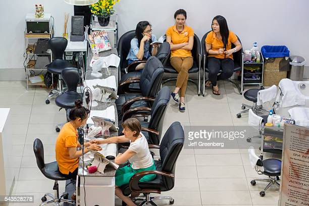 Australia Sydney Central Business District CBD Darling Harbor Harbourside Shopping center shopping nail salon manicure customer employees Asian woman