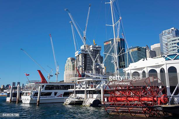 Australia Sydney Central Business District CBD Darling Harbor Passenger Terminal Barangaroo economic development construction site cranes skyscrapers...