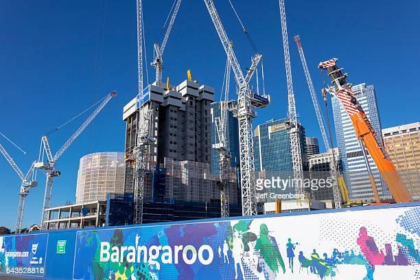 Australia Sydney Central Business District CBD Darling Harbor Barangaroo economic development construction site cranes skyscrapers city skyline