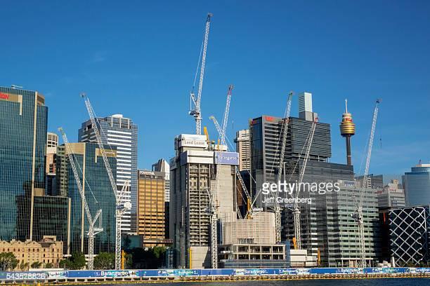 Australia Sydney Central Business District CBD Darling Harbor Barangaroo economic development construction site cranes skyscrapers city skyline Tower