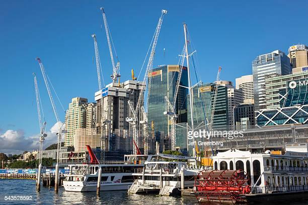 Australia Sydney Darling Harbor Parramatta River Barangaroo CBD Central Business District city skyline skyscrapers construction cranes site economic...