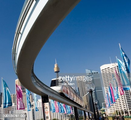 Australia, Sydney, Darling Harbour, monorail, low angle view