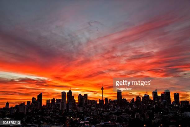 Australia, Sydney, Downtown skyline at sunset
