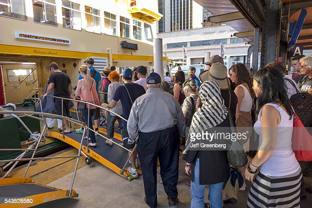 Australia Sydney Ferries harbor Parramatta River Darling Harbor ferry Circular Quay Terminal public transportation passengers boarding ramp Sydney...