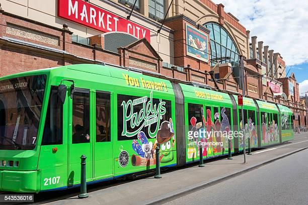 Australia Sydney Haymarket Hay Street Metro Light Rail tram Variotram LRV public transportation Paddy's Markets Market City Center shopping