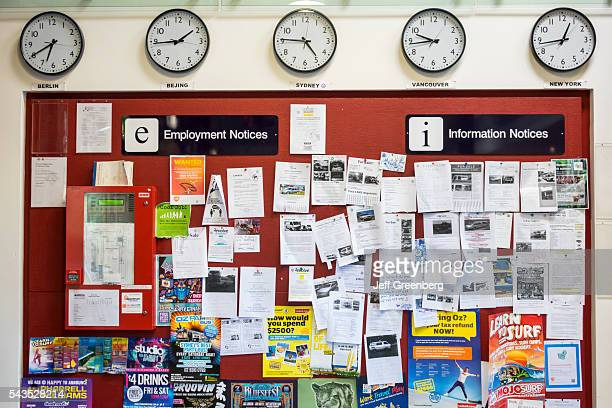 Australia Sydney Haymarket Railway Square YHA youth hostel association information lobby employment notices bulletin board clocks international time...